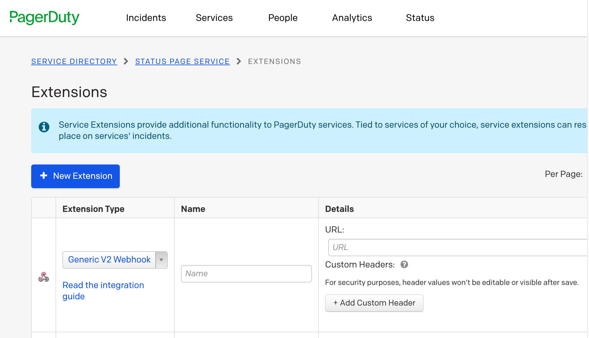 Add your webhook to PagerDuty